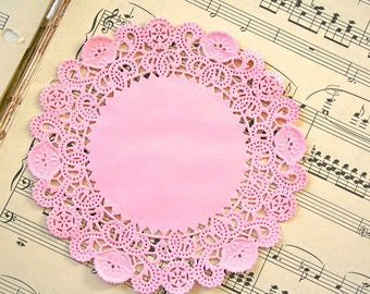 """50 Round 5"""" PASTEL PINK French Lace Paper Doilies"""