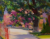 Pink landscape painting Green nature painting of pink cherry trees in blossom, Spring modern oil painitng