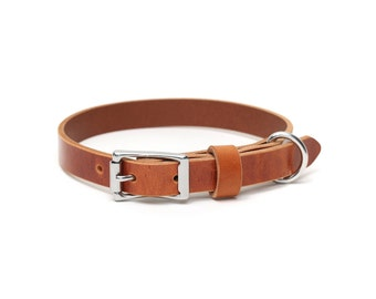 Leather Slim Dog Collar | Whiskey