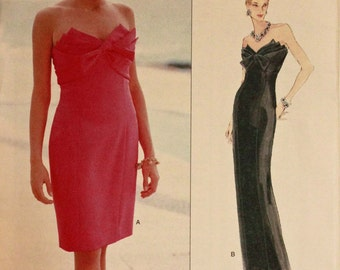 Cocktail Dress & Evening Gown by Victor Costa - 1990's - Vogue Pattern 1570 Uncut  Size 12-14-16 Bust   34-36-38""