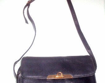 Organizer Shoulder Bag Handbag by Samsonite Leather Like Dark Bue