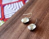vintage glass earrings - clear