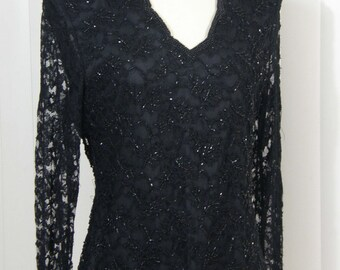 Elegant Vintage lace covered and silk jet beaded black Laurence Kazar - Paris- at his finest