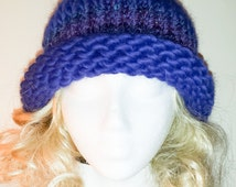 ALPACA Blue Cloche  Marine Blue, blue tweed band, rolled rim, warm soft all natural, made in Vermont, hand knit