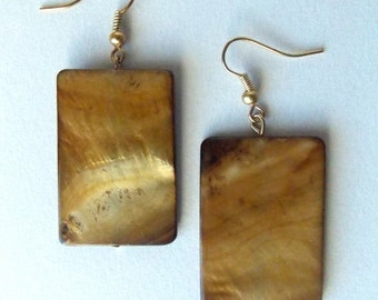 Tan Rectangle Earrings