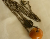 Large amber nugget pendant w Yin Yang coin & brass chain necklace , beaded jewelry , layering necklace , amber jewelry , brass chain jewelry