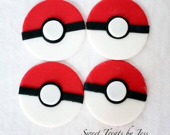 Set of 12 Pokemon Pokeball Edible Fondant Cupcake Toppers