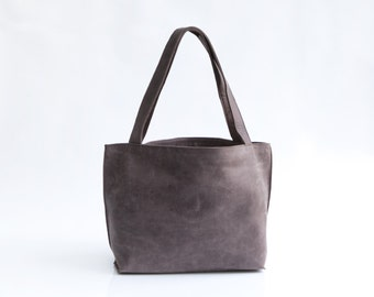 Leather Purse - Shoulder Bag - Soft Leather Tote Bag - Everyday Leather Bag - Purple Gray Leather Handmade Bag By Mayko Bags