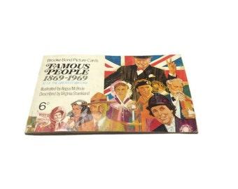 Album of Famous People picture cards book Brook Bond tea bags Darwin Gilbert Churchill Scott