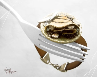 Scented Chocolate Crepe Bracelet, Banana Crepe Bracelet, Mini Food Jewelry,Polymer Clay Bracelet,Foodie Gift,Kawaii Jewelry,Dessert bracelet