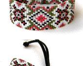 Colorful beadwoven bracelet - ethnic style beadwork jewelry - bead loom bracelet -beaded cuff