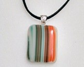 Southwestern Fused Glass Pendant - Orange Necklace - Necklace - Glass Jewelry  - Turquoise - Brown - Earth Tone - Square Pendant