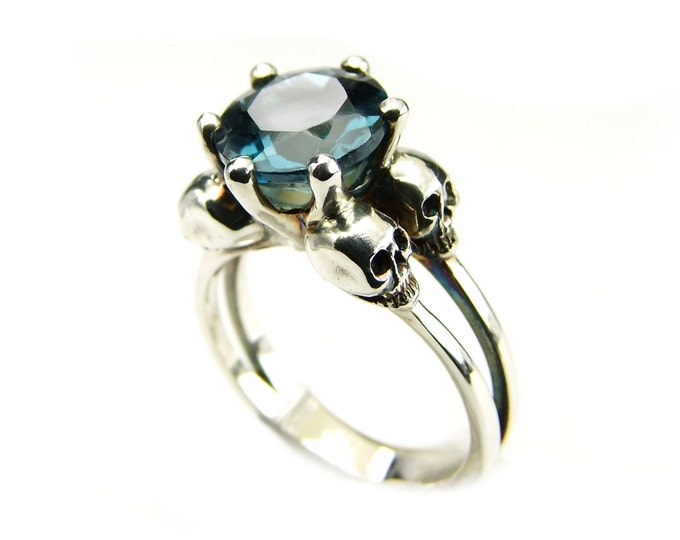 Womans Double Skull Ring with Blue Topaz - All Sizes