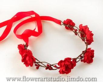 Red Wedding crown, Red Floral Crown, Coachella festival hair crown, Red Bridal Floral Crown, Bohemian style crown, Bridal Hair Wreath.