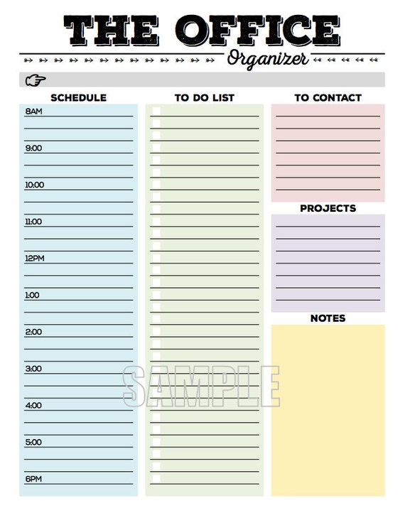 The Office Organizer Planner Page Work