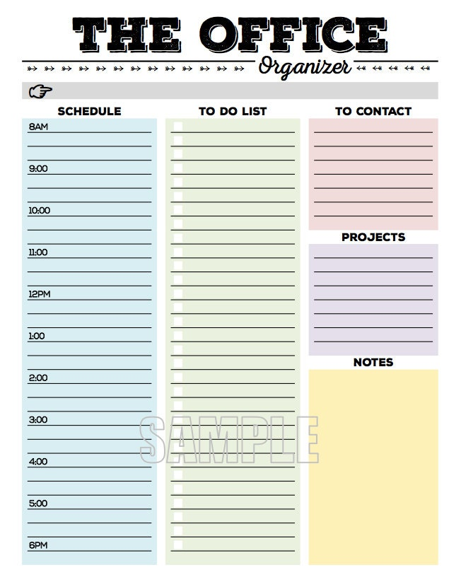 The Office Organizer planner page work planner office