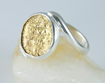 Ancient Coin Ring - Zeus, God of the Sky, King - 925 Sterling Silver, 18k GOLD - swirl band - men & women's coin ring