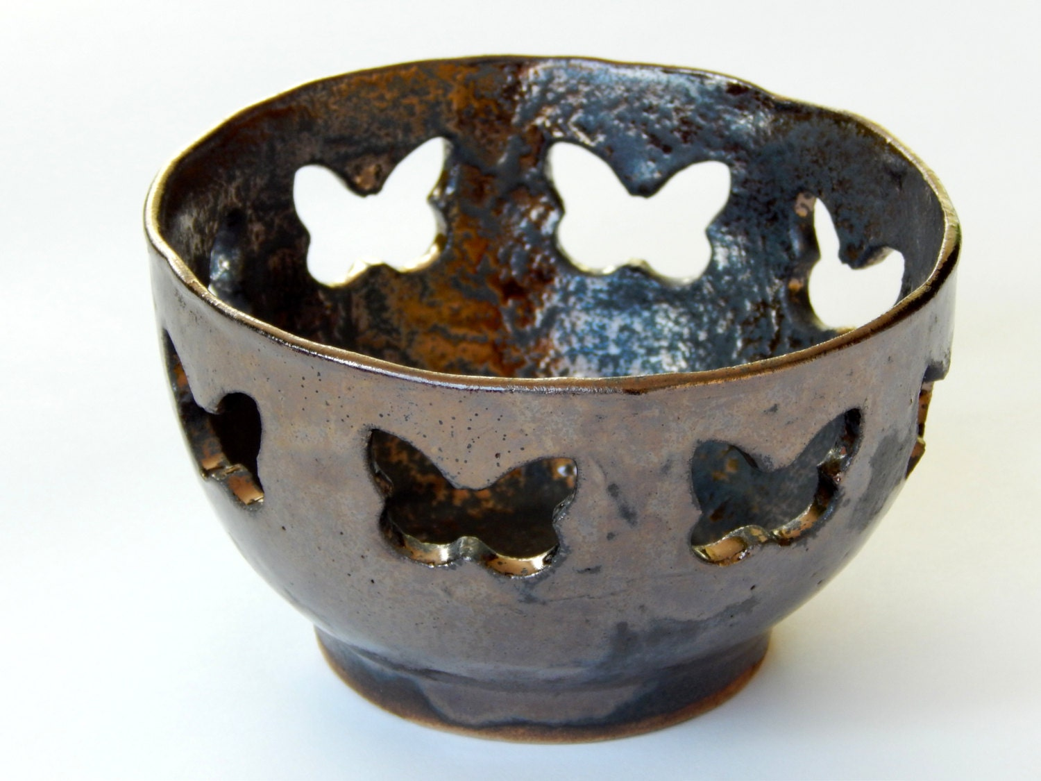 Ceramic Bowl Butterfly Candle Holder Tealight Holder By