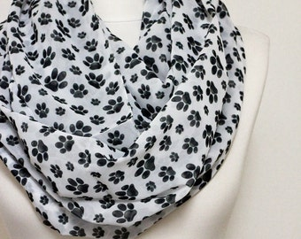 Paw pattern Chiffon Infinity scarf, Dog Scarf, Circle Scarf, Loop Scarf, Scarves, Spring - Fall - Winter - Summer fashion