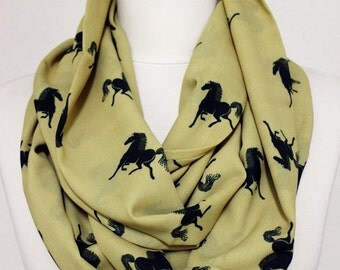Horse Pattern Scarf Olive Green Infinity Scarf Scarves Loop Scarf Fall Winter Fashion Accessories Gift For Her Horse Print
