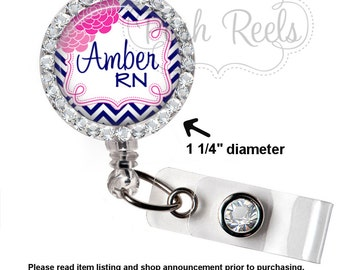 Retractable ID Badge Reel -Personalized Navy / Pink Chevron and Flower Badge ID Reel - Bling Badge Reel - 0717