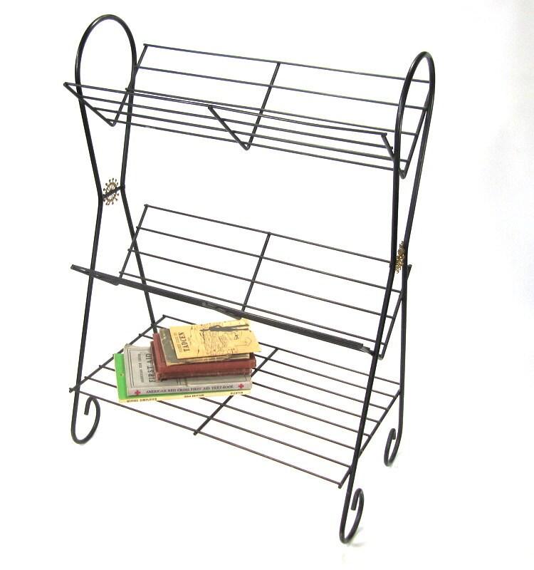 Mid Century Wire Shelf Book Shelf Side Table