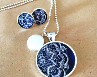 Navy Blue and White Resin Silver Necklace and Earrings