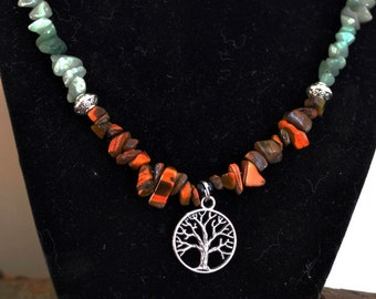 Aventurine and Tiger's Eye Tree of Life Necklace