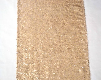 """Champagne Sequin Runner  - 14"""" x 84"""" - Wedding, Baby Shower, Bridal Shower, New Years, Holiday"""