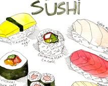 "Types of Sushi Art Print 9""x12"""