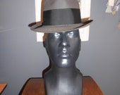 DOBB'S  7  vintage men's short brim fedora pleated grosgrain trim medium grey wool MINT