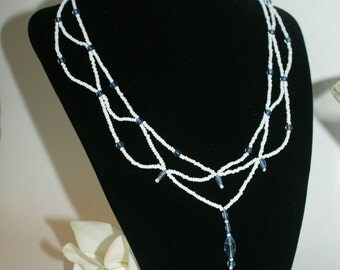 White and Blue Native American Wedding Necklace Set