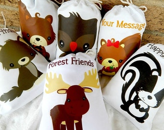 """Birthday Party Favor Bags Cute Forest Animals For Baby Shower and Birthday's for treats and gifts Personalized 5"""" X 7"""" or 6"""" X 8"""" Qty 6"""