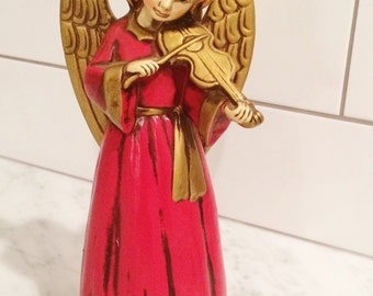Vintage Paper Mache Angel Red Gold  Angel Violin Made in Japan