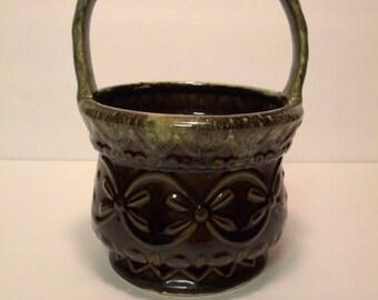 Vintage Hull Pottery USA Green Glaze Basket Planter