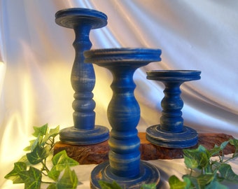 Primitive Dark Blue Lathe-turned Pillar Candle Holder Set of 3 - Made in USA