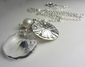 Swarovski Crystal Clear Shell Necklace 925 Sterling Silver Sand Dollar Necklace Saltwater Akoya Pearl Seashell Crystal Gift for her