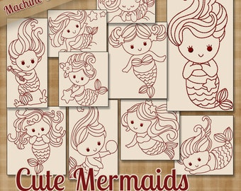 Cute Mermaids Redwork Machine Embroidery Patterns 2 Sizes Multi-format Designs on CD Shipped Quick .pes .jef .exp .xxx .vip .hus .dst