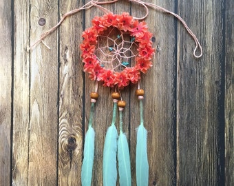 "3"" Floral Mint and Coral Silver Glitter Dream Catcher"