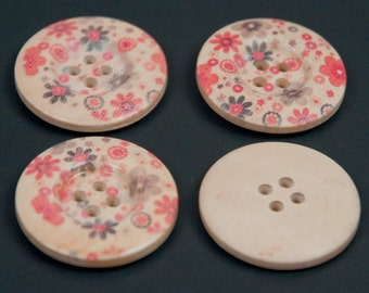 """4 Wooden Buttons with Floral Print Approx. 1 1/8"""""""