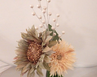 Pearl Wine Bottle Vase with Artificial Flowers