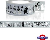 Moomin Washi Tape - Gray - Wide 20mm x 15m extra long - The Moomins - Moomin pappa  Groke Too Ticky characters from Finnish comics