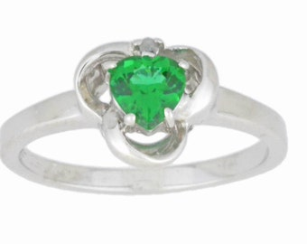 0.50 Ct Emerald & Diamond Heart Ring .925 Sterling Silver Rhodium Finish