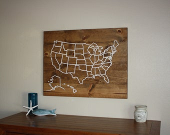 Extra Large Wood Map Outline of the USA - Wood Wall Map Decor - Rustic Cottage Decor - Vintage Map