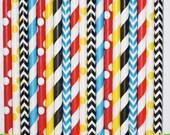 25 Superhero  Paper Straw Mix  PAPER STRAWS birthday party event cake pop sticks super hero yellow red blue