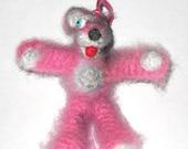 Mini Breaking Bad Pink Teddy Bear Amigurumi Crochet Doll and Figure Prop