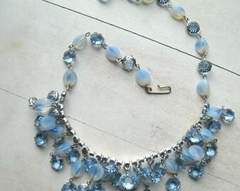 Vintage Blue Rhinestone and Crystal Necklace 1950's Bridal Wedding Jewelry Designer Jewelry Classic Choker Style