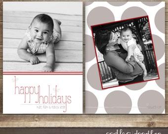 Photo Christmas Card, Holiday Card, Holiday Photo Card, Polka Dots & Stripes Photo Card, Printable Digital File or Printed
