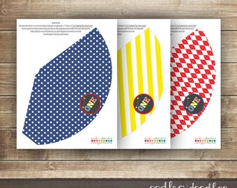 1st Birthday Party Hats / First Birthday Party Hats / Kid's Party Hats / Primary Colors / Argyle, Stripes & Polka Dots - Printable