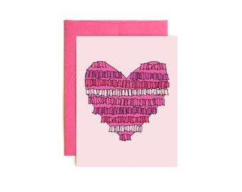 Pinata Heart - Valentine Card - Confetti Card - Hand drawn card